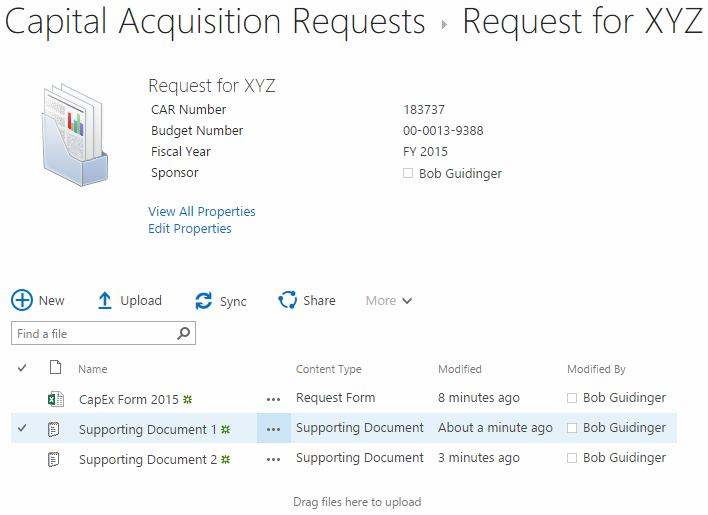capital acquisition request view existing screenshot
